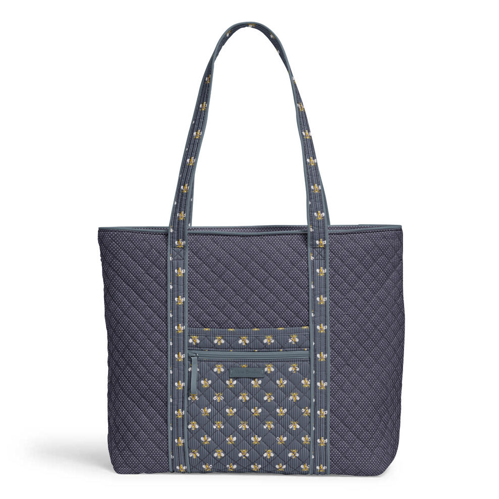 Personalized Gray Quilted Large Shoulder Tote Bag
